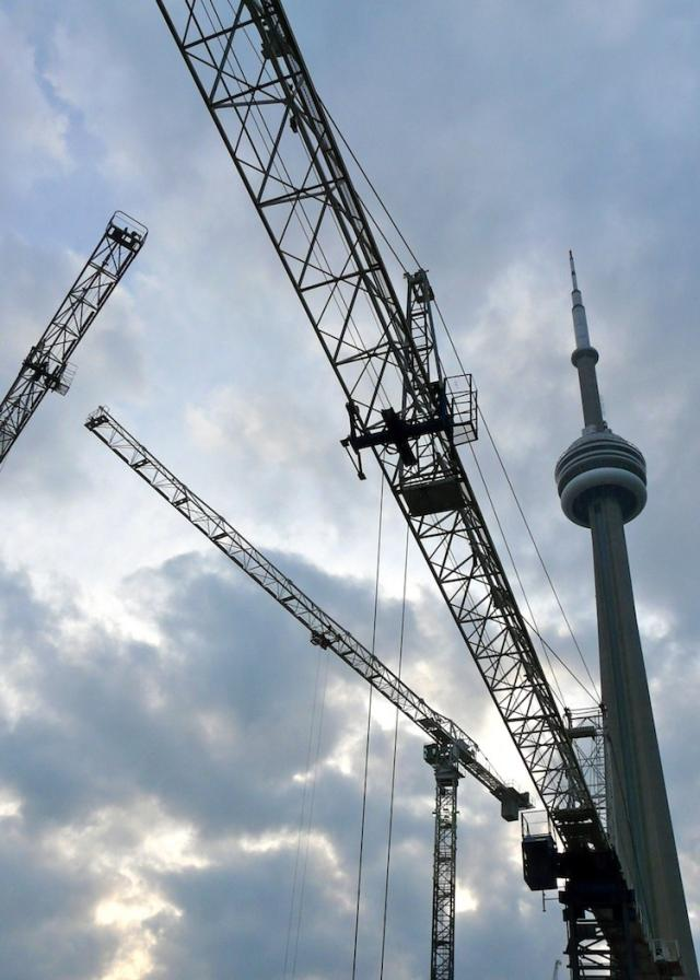 Cranes for Southcore Financial Centre's Bremner Tower and Delta Toronto