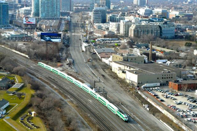 A Lakeshore GO Train passes track work on the Georgetown corridor in Toronto