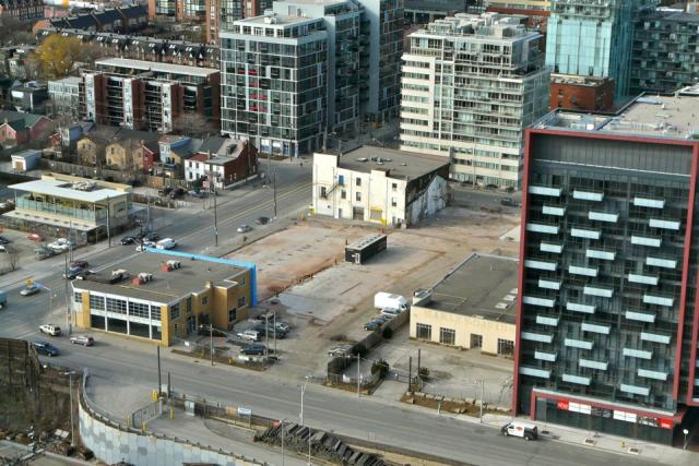 Site of the upcoming Minto Freed condo project at Front and Bathurst in Toronto