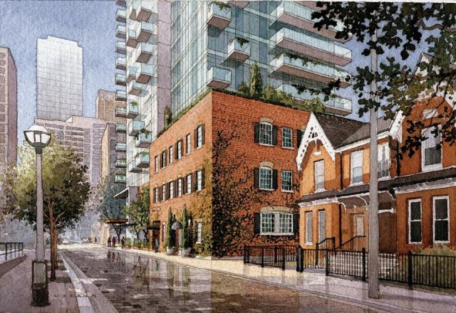 Street view of Nicholas Residences Toronto condo, illustration by Michael McCann