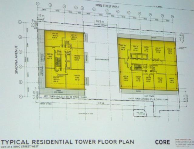 Second proposal 401-415 King Street West Toronto tower floor plan