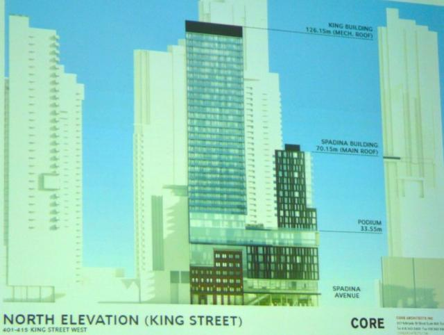 Second proposal 401-415 King Street West Toronto north elevation render