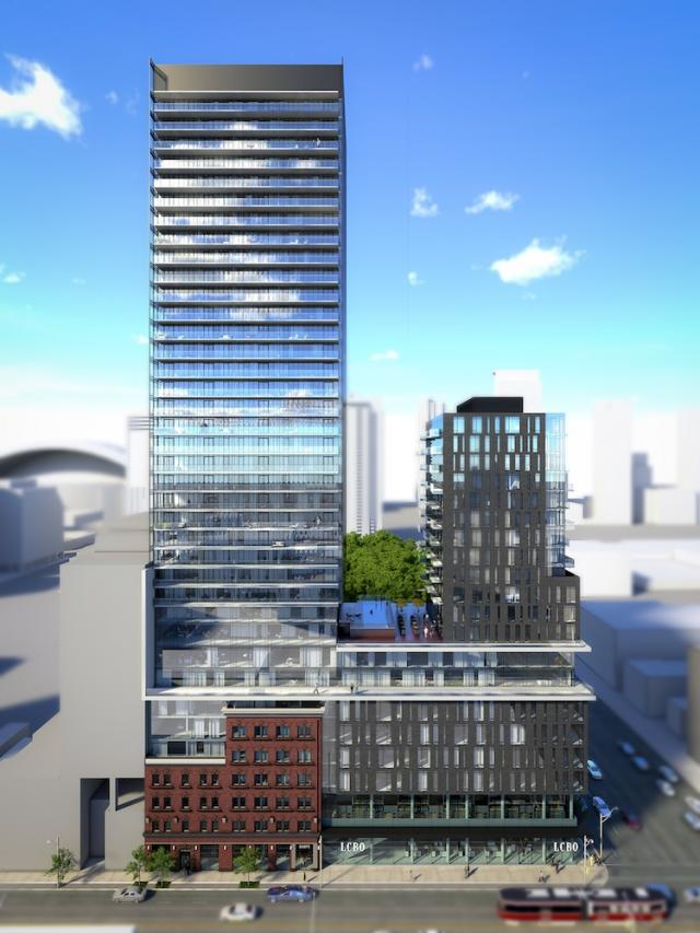 Second massing proposal 401-415 King Street West Toronto by Core Architects