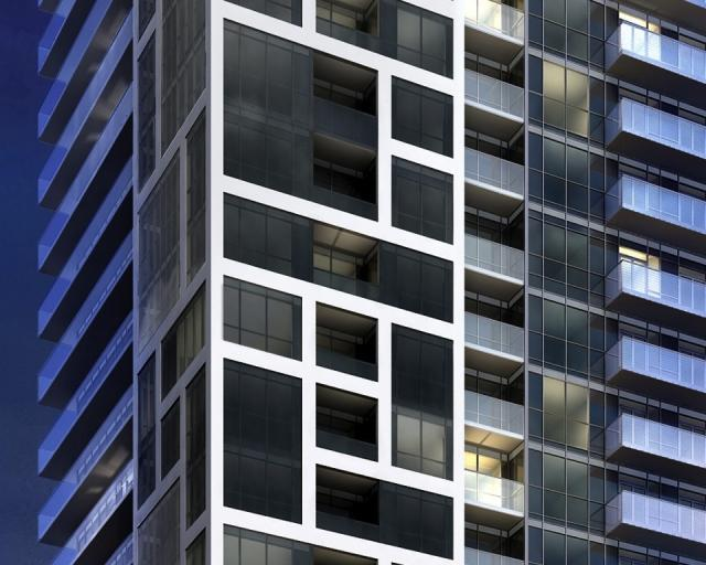 Piet Mondrian-inspired grid on the exterior of Rise Condos, Toronto