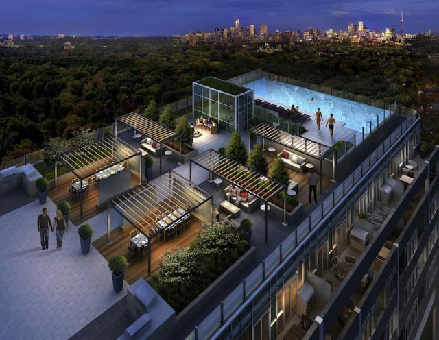Outdoor amenity terrace at Rise Condos, Toronto