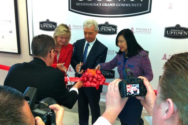 A ribbon cutting opens sales for Pinnacle Uptown Crystal Condos, Mississauga