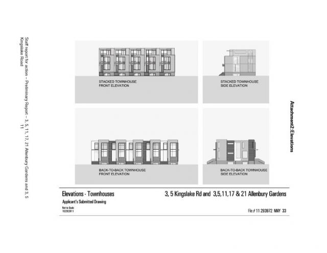 Elevations for Townhouses at Allenbury Gardens, Toronto