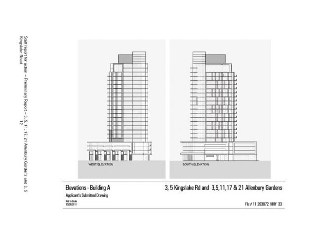 Elevations for Building A at Allenbury Gardens, Toronto