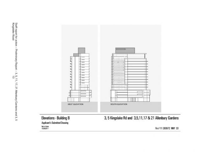 Elevations for Building B at Allenbury Gardens, Toronto
