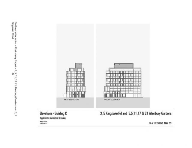 Elevations for Building C at Allenbury Gardens, Toronto