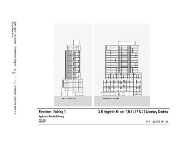 Elevations for Building D at Allenbury Gardens, Toronto