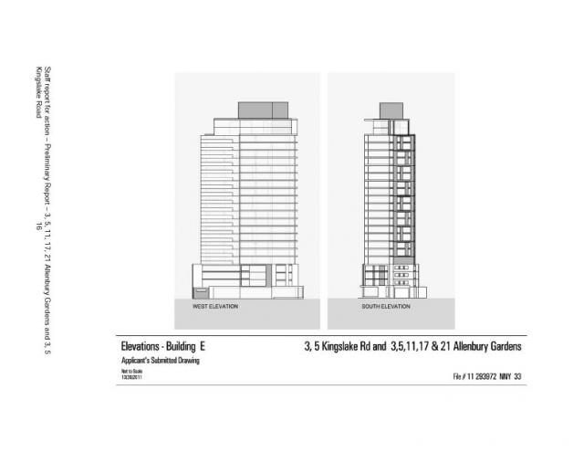Elevations for Building E at Allenbury Gardens, Toronto