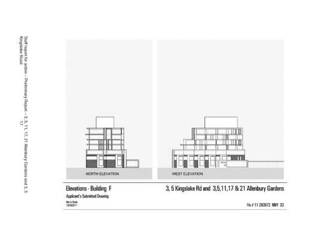 Elevations for Building F at Allenbury Gardens, Toronto