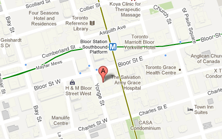 One Bloor East location with transit lines