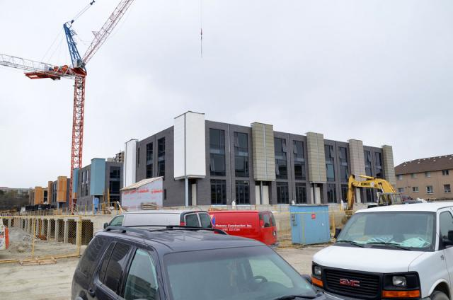 Exterior work progressing on the townhouses at One Valhalla, Toronto