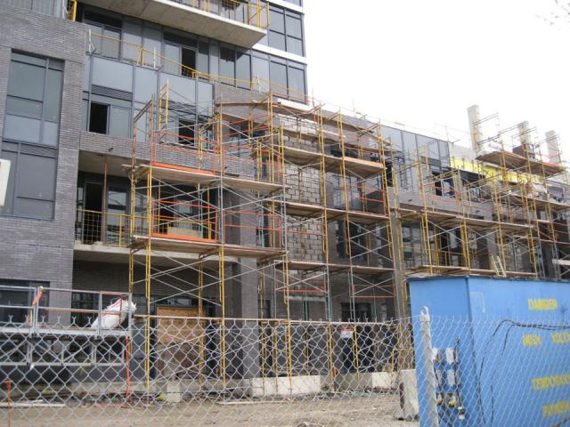 Scaffolding on the One Valhalla project by Edilcan Corp, Toronto