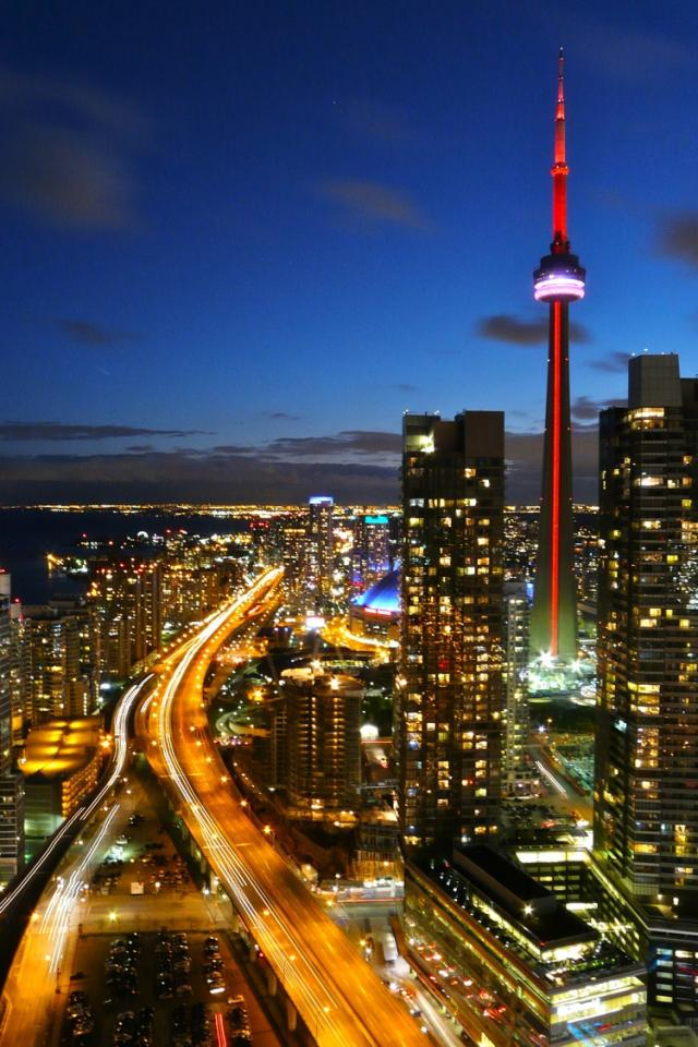 Toronto at dusk from Pinnacle International's 33 Bay condo penthouses