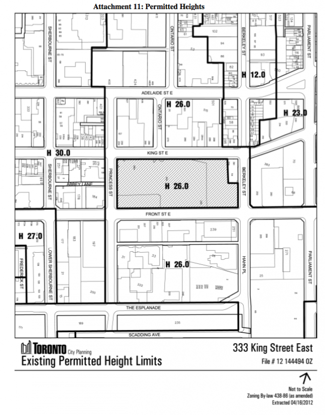 Height Restrictions, 333 King Street East Toronto