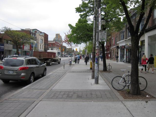 Queen Street wider sidewalk Toronto