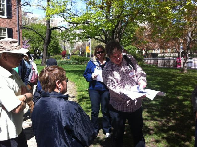 Jane's walk leader Chris Hardwicke Queen Street Toronto
