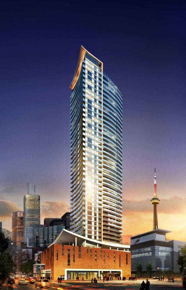 Cinema Tower condos in downtown Toronto. Developed by The Daniels Corp.