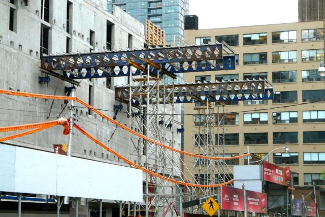 Temporary platform under construction at Cinema Tower, developed by Daniels Corp
