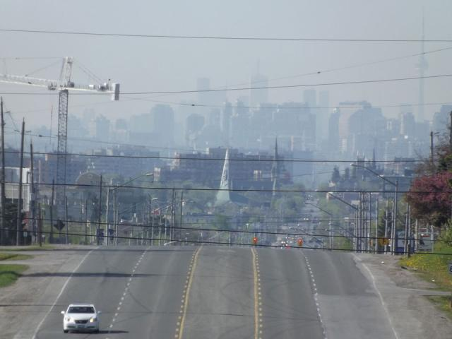 Toronto skyline as viewed from Yonge Street and Stoufville Road