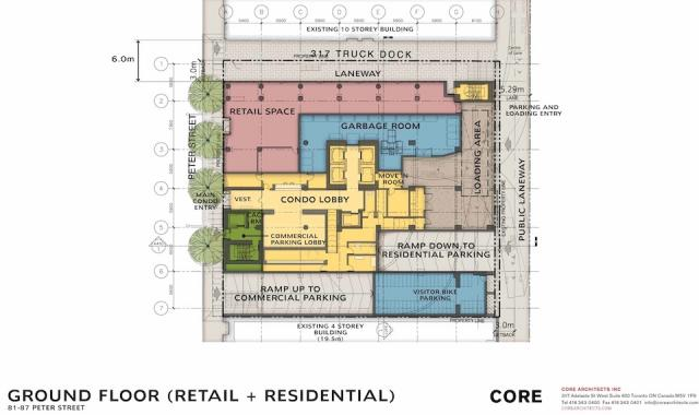 Noir condos 81-87 Peter Street Toronto ground floor site plan