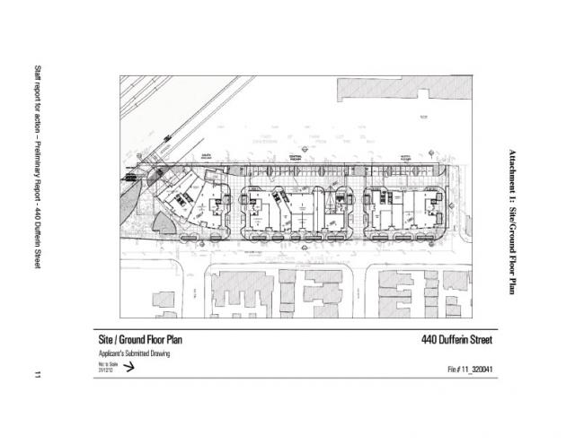 Site Plan for 440 Dufferin Street, Toronto. Developed by Topana Investments