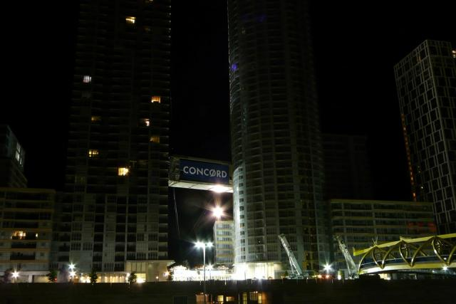 Lifting the Parade condos Skybridge at Concord CityPlace in Toronto