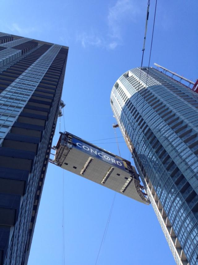 Raising the Parade condos Skybridge at Concord CityPlace in Toronto