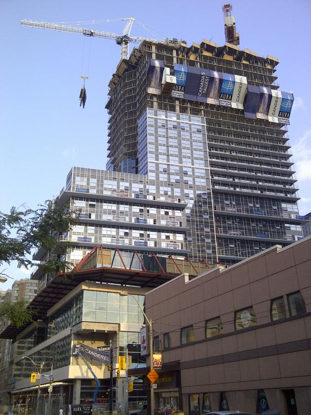 Aura Condo at College Park, Toronto. Developed by Canderel Stoneridge