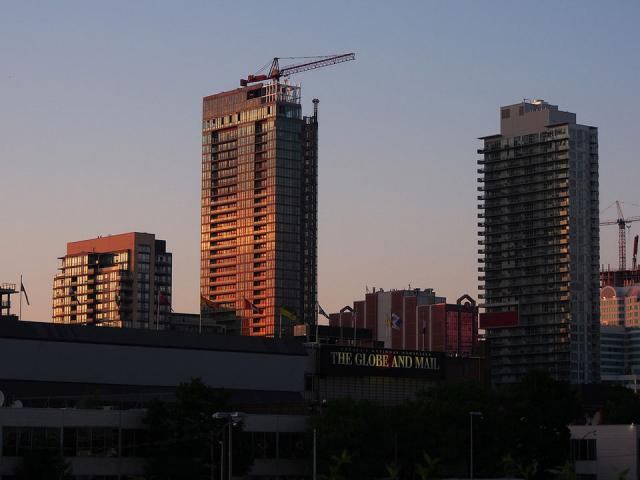 An evening view of King West condos, Toronto.