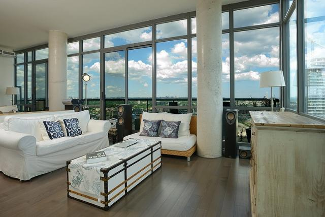 Living Space and east view in suite 3203 at 33 Mill, Toronto penthouse condo