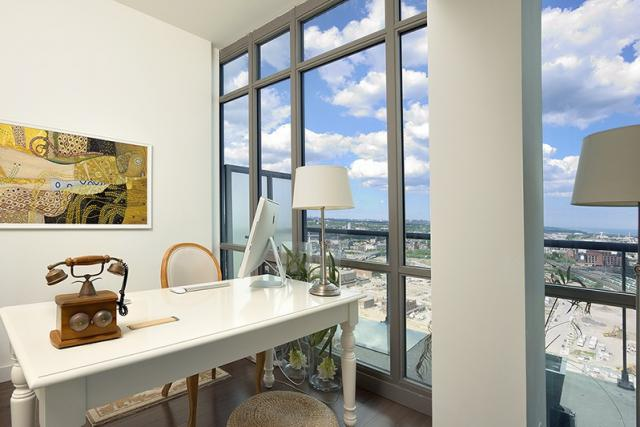 Office and east view in suite 3203 at 33 Mill, Toronto penthouse condo