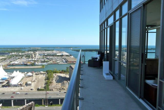 Balcony at suite 3203 at 33 Mill, Toronto penthouse condo