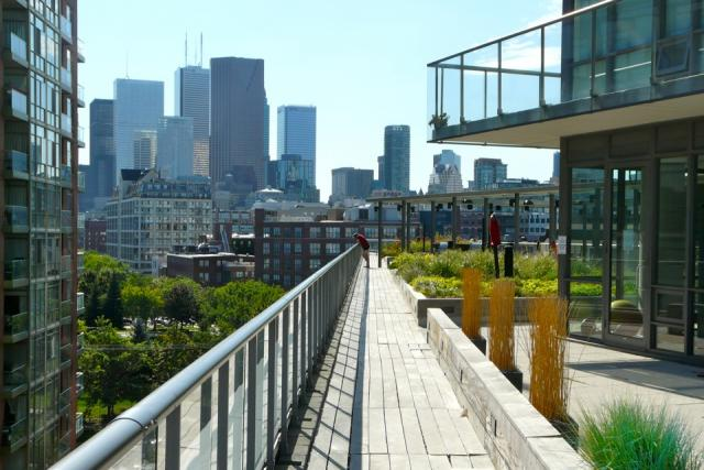 Downtown view from the amenity terrace at 33 Mill, Toronto penthouse condo