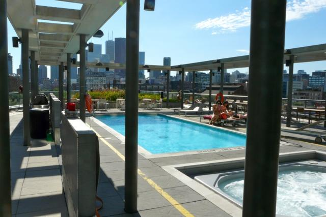 Pool on the amenity terrace at 33 Mill, Toronto penthouse condo