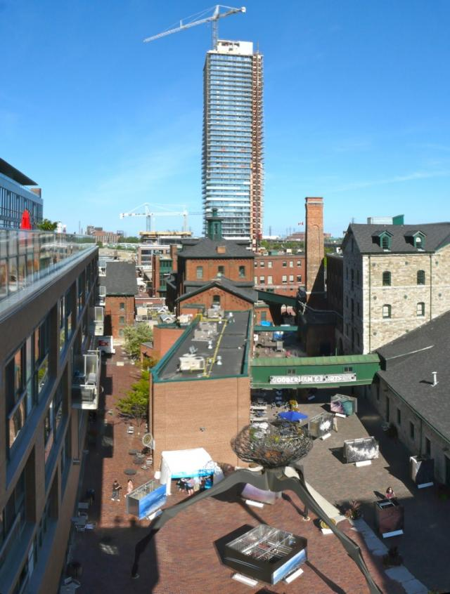 Distillery view from the amenity terrace at 33 Mill, Toronto penthouse condo