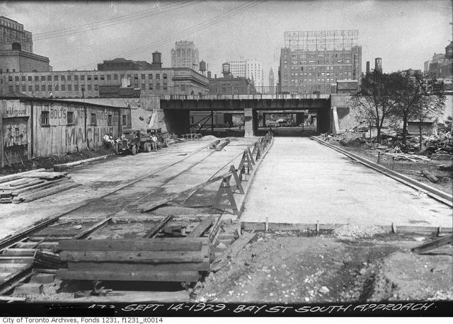 Bay Street south of Front looking north, 1929 Toronto