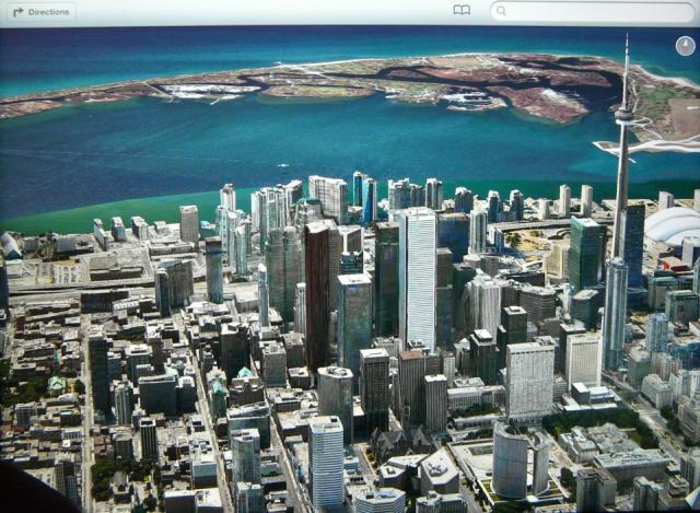 Looking south over Toronto, from Apple's Maps app in iOS6