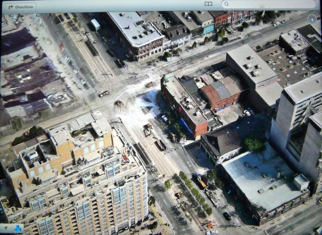 Looking down at Queen and Spadina, Toronto, from Apple's Maps app in iOS6