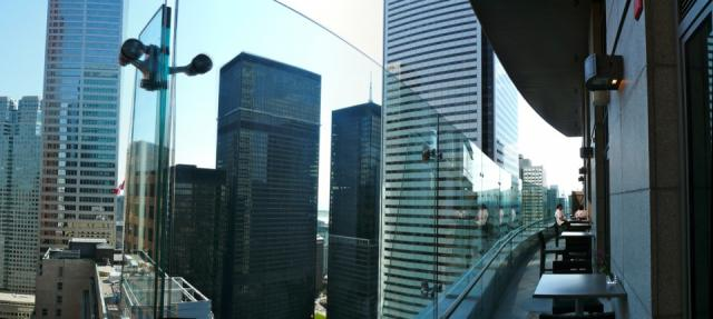 Panoramic image of the terrace at Stock Restaurant in the Trump Toronto