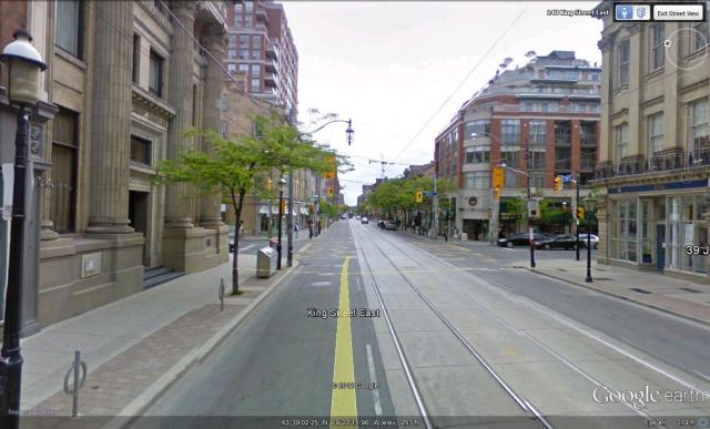 Streetview of the Saint James (top right) and its 3 heritage neighbours at King