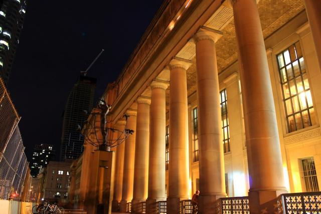 Union Station at night in Toronto