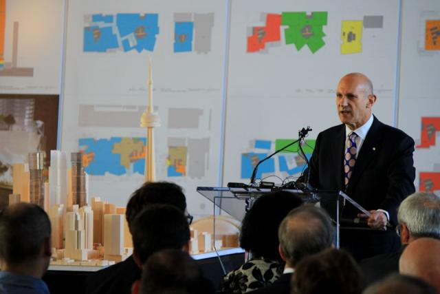 David Mirvish introducing his Gehry-designed proposal for King Street West