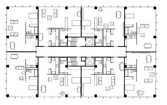 Typical floorplan for 860 - 880 Lake Shore Drive Apartments in Chicago