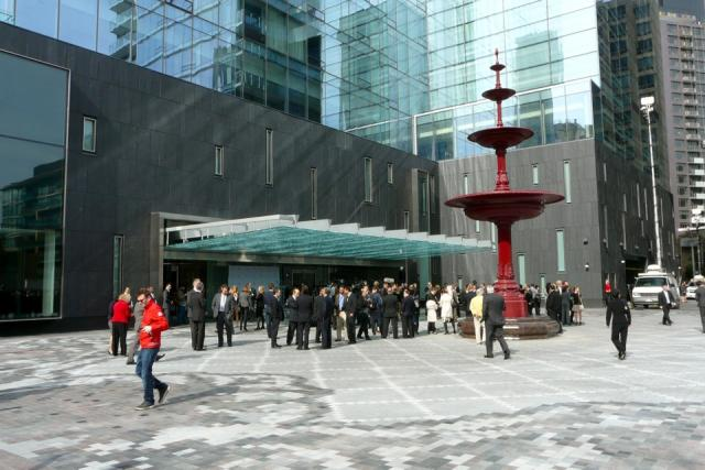 A crowd builds for the opening of Toronto's new Four Seasons, image by C White