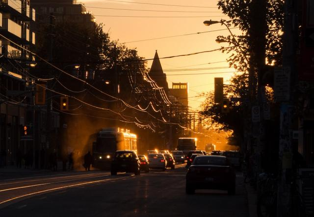 Sunset on queen west at CAMH in Toronto