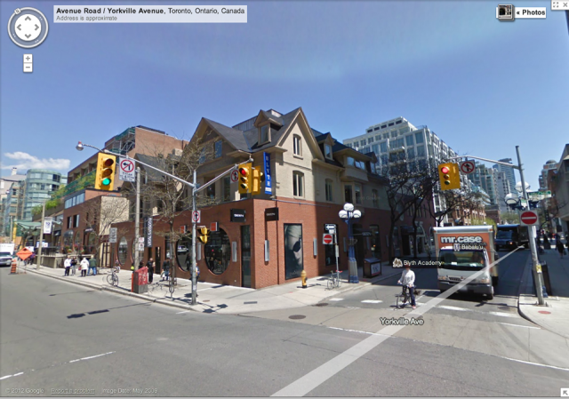 Current building at Yorkville Avenue and Avenue Road, image from Google Maps